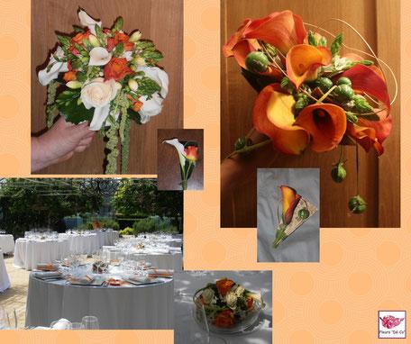 Bouquets de mariée et tables de réception (les tons orange)