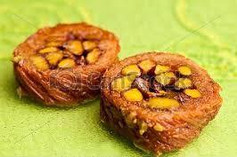 Dessert : beklawa aux pistaches et à l'eau de Rose